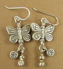 Grandi orecchini a forma di farfalla con Ciondoli. BIADESIVO. Argento Sterling 925.