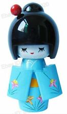 Sky Blue wood doll Collectibles Oriental Japanese wooden Kokeshi Dolls cute girl