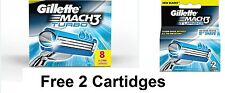 Gillette Mach 3 TURBO Cartridges 10 (8 + 2) Pack Razor Blades Shaving Mach3 NEW