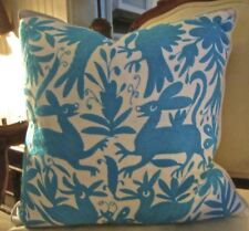 "TRULY TURQUOISE EMBROIDERED Otomi Indian Pillow Cover 20 x 20"" Cotton"