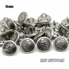 50pcs Silvery five-pointed star pattern metal shank buttons Uniform button 15mm