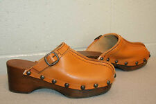 6 NOS Vtg 70s BELTED BUCKLE HIPPIE BOHO STUDDED LEATHER WOOD PLATFORM CLOG Shoe