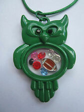 Living Memory Green Owl Locket with 7 crystals and charm USA