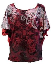 Desigual Marcia Red and Black Short Sleeve Boat Neck T-shirt Size L