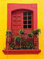 BRIGHT RED YELLOW WINDOW SILL MEXICAN HOUSE PHOTO ART PRINT POSTER BMP025A