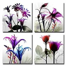 [Framed] Purple Flowers Nature Modern Wall Art Prints Canvas Picture Home Decor