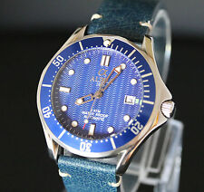 Alpha Seamaster mechanical automatic men's watch,blue vintage strap