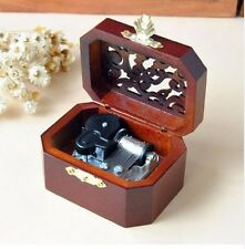 WOODEN OCTAGON CARVING MUSIC BOX : MY HEART WILL GO ON