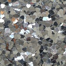 "Silver Heart Sequin 6mm (1/4"") Confetti Glitter Metallic No hole Costume Craft"