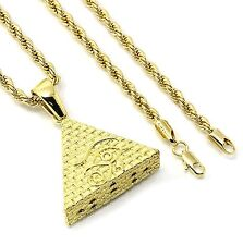 "Mens Gold Plated Eye of Horus Egypt Pyramid Pendant Hip-Hop 30"" 4mm Rope Chain"
