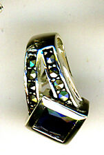 925 Sterling Silver Faux Sapphire &  Marcasite Pendant Length   5/8""