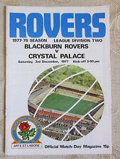 The Official Match Day - Magazine Of Blackburn Rovers & Crystal Palace 1977