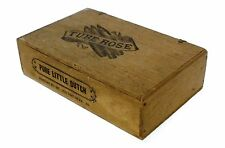 ANTIQUE WOODEN CIGAR BOX - TUBE ROSE - RARE - w/FACTORY NOTICE - NICE CONDITION!