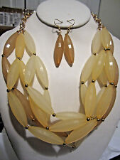 Four Layers Multi Yellow Long Lucite Bead Chunky Necklace Earring Set