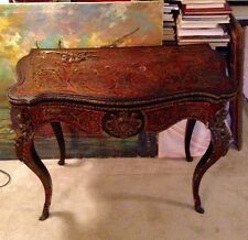 Antique French Boulle Napoleon III Card Table Writing Desk Console