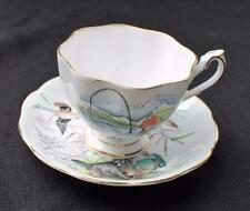 QUEEN ANNE Bone China England HUNTING FISHER Scene Pattern #5334 Cup & Saucer