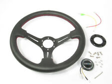 "NRG 350mm Sport Leather Steering Wheel 2"" Deep Black w/Red Stitch & Black Center"