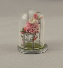 Dollhouse Miniature Shabby Chic Tiny Chair Under Glass Dome Flowers 1:48