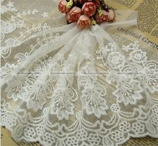 "Lace Trim White Retro Embroidery Tulle Fabric Wedding 9.1"" width 1 yard SM8"