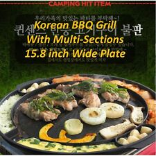"Queen Sense Korean Indoor BBQ Wide Grill Pan 15.8"" Stovetop Family Camping Size"
