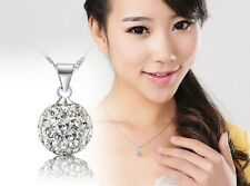 Silver Plated Crystal Rhinestone Necklace Pendant White Top Sale Present T
