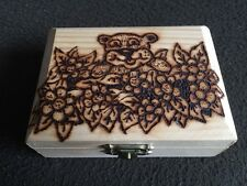 Pyrograved hand crafted trinket box