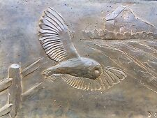 Owl cast stone wall plaque, antique effect owl garden ornament, barn owl artwork