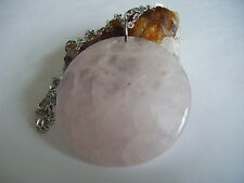 Spiritual Healing Rose Quartz HUGE Pendant Necklace Heart Chakra Love Peace