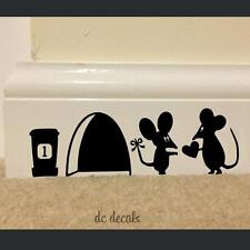 Cartoon Mouse Love Heart Art Wall Sticker Vinyl Decal Mice Skirting Board Decor