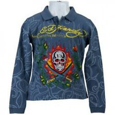 NWT Ed Hardy Kids Boys Polo T-Shirt Long Sleeve Blue Size 4
