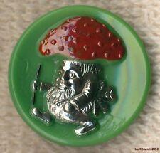 Czech Glass Dark Green Magic Mushroom Man Button-22mm