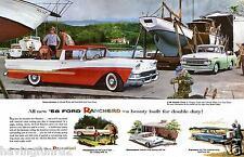 1958 Ford Ranchero Dealer Showroom Wall Illustration 11 x 17 Giclee print