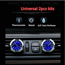 Car Clock Watch Thermometer A/C Vent Clip Gauge Trim Perfume Refill Storage+ LED