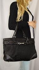 COACH HAMPTON Black Jacquard Signature Collection Belted  X Large Carryall Tote