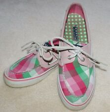 Bahama Pink/Green Plaid Sperry Top-Sider Boat Shoes Womens size 6 M Youth 4.5