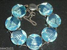 Art Deco Japanese Silver Bracelet Opalescent Glass Pagoda reverse carved