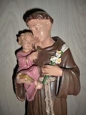 ANCIENNE STATUE RELIGIEUSE: Saint ANTOINE & JESUS / PLATRE POLYCHROME /N°5