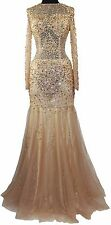 Women's Fromal Illusion Long Sleeves Rhinestones beaded Evening Gown prom dress