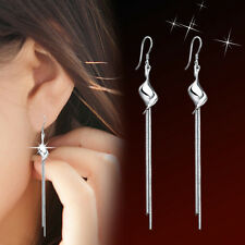 1 Pair 925 Silver Exaggeration Twisted Pieces Tassel Ear Stud Earrings Jewelry