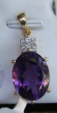 8.67 cts Genuine Zambian Amethyst Pendant in 10k Yellow Gold w Zircon Accents