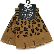 New Fingerless Leopard Brown Gloves GOTH WARMER