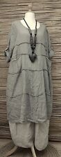LAGENLOOK LINEN AMAZING QUIRKY 2 POCKETS LONG TUNIC/DRESS*BEIGE*BUST UP TO 48""