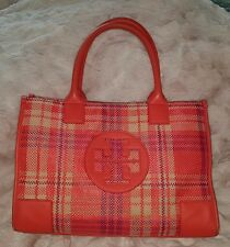 AUTHENTIC TORY BURCH CORAL PURPLE ROBINSON WOVEN PLAID TOTE HANDBAG PURSE