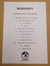 MORRISSEY World Peace Is None Of Your Business UK promo only album playback card