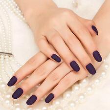 24Pcs Deep Purple Matte Manicure Patch Full Oval Artificial False Nails