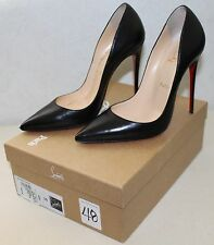 Christian Louboutin So Kate 120 Heels Size 39 Black Kid Leather Pointy Toe Pumps
