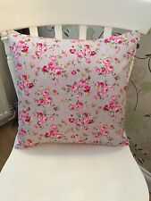 "Rose & Hubble Grey Vintage Floral Cushion Cover 16"" Bouquet Pink Shabby Chic"