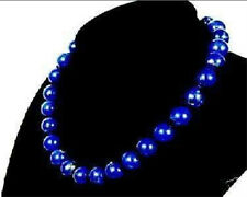 Stunning! 10mm Egyptian Blue Lapis Lazuli beads Necklace AAA 18""