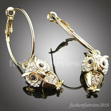 Gold Gp Swarovski crystal Hoop Pierced owl earrings ER072