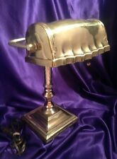 """VINTAGE ALL BRASS 14"""" STUDENT/BANKERS DESK LAMP W/ORIG. RUFFLE EDGE BRASS SHADE"""